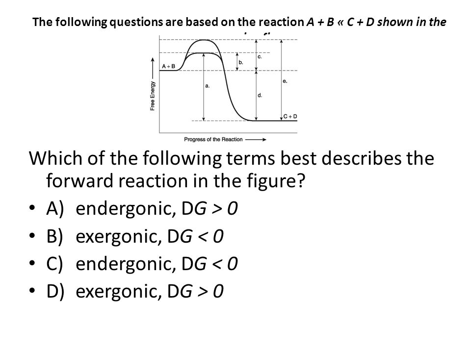 The following questions are based on the reaction A + B « C + D shown in the accompanying figure.