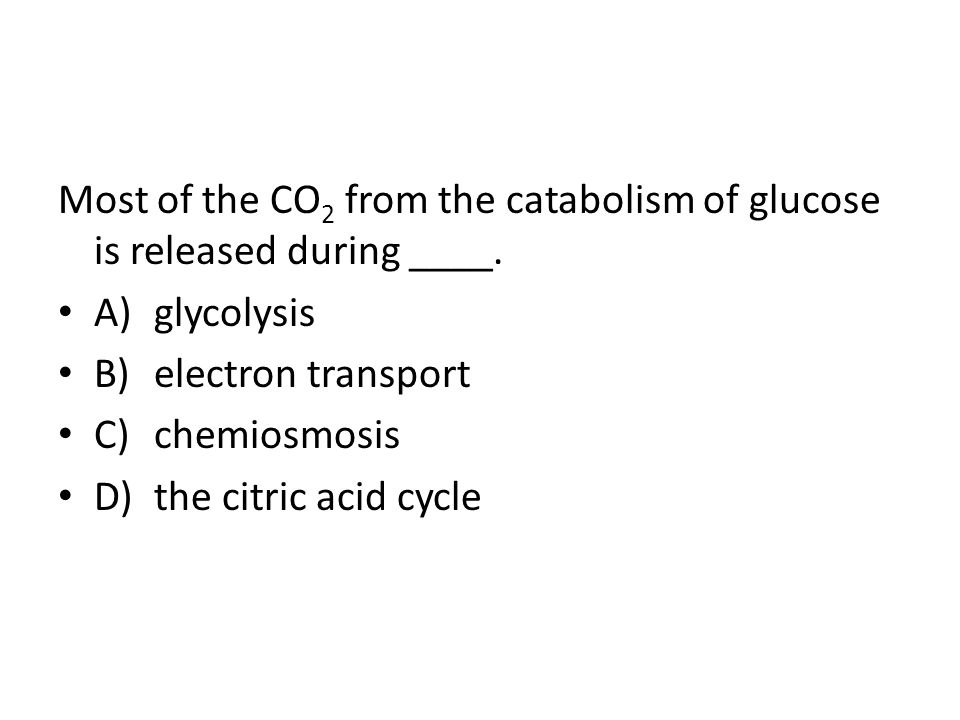 Most of the CO2 from the catabolism of glucose is released during ____.