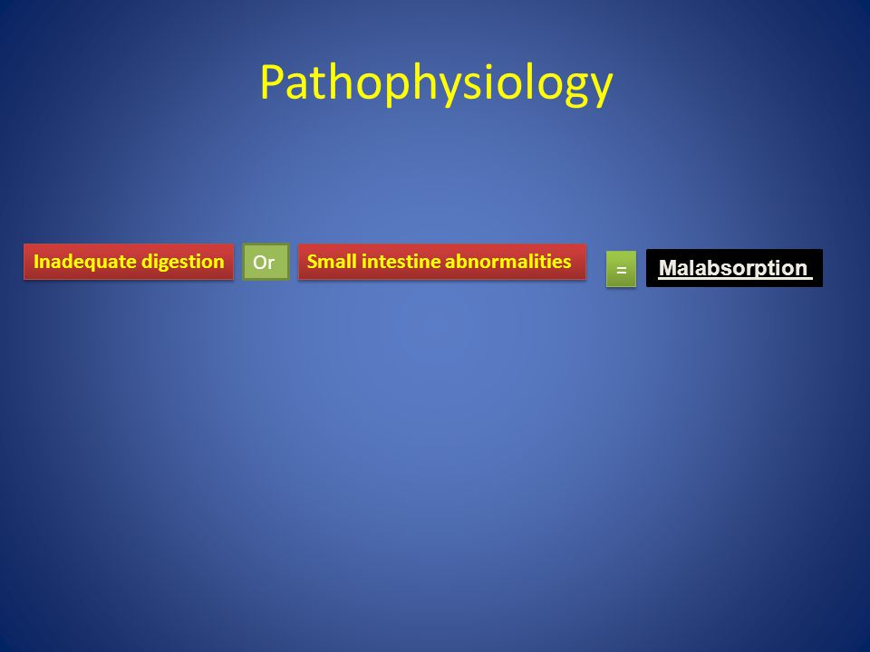 Pathophysiology Inadequate digestion Or Small intestine abnormalities