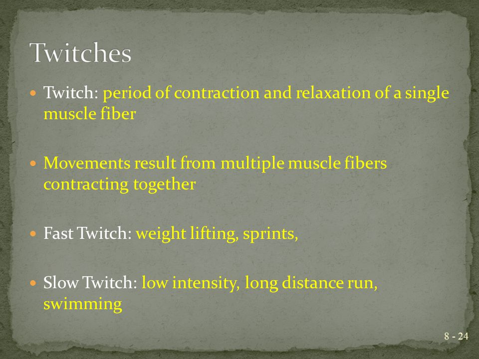 Twitches Twitch: period of contraction and relaxation of a single muscle fiber. Movements result from multiple muscle fibers contracting together.