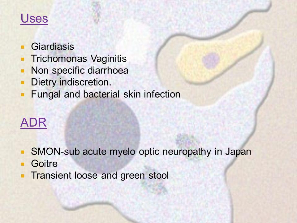 Uses ADR Giardiasis Trichomonas Vaginitis Non specific diarrhoea