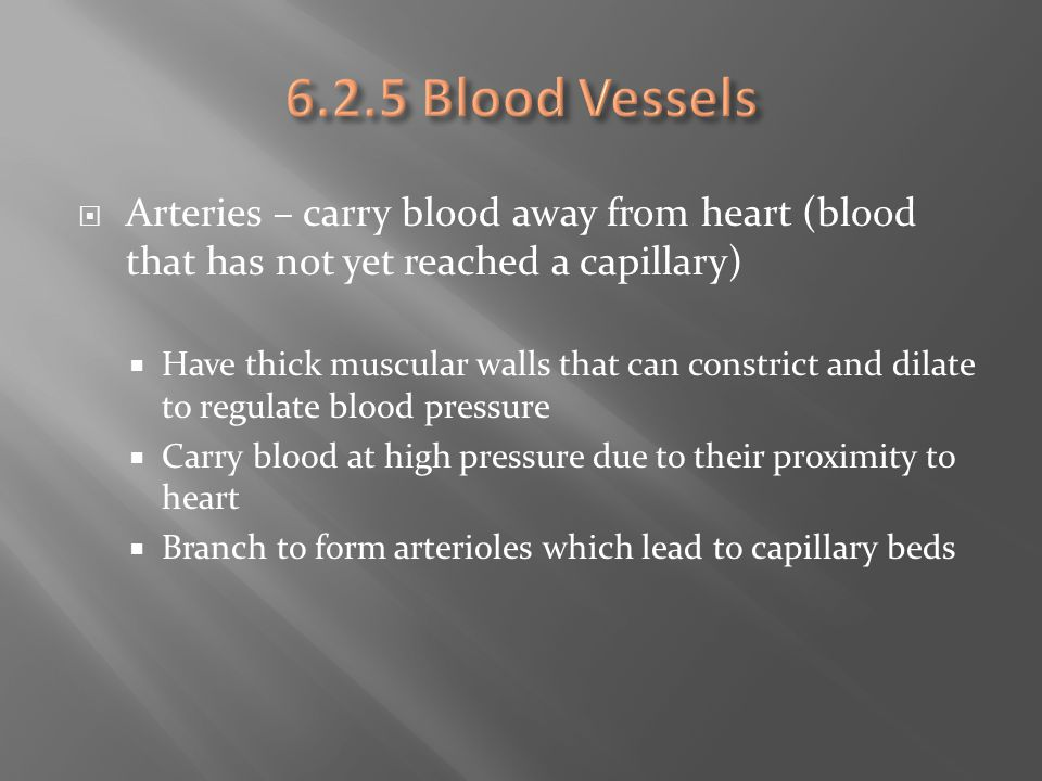 6.2.5 Blood Vessels Arteries – carry blood away from heart (blood that has not yet reached a capillary)