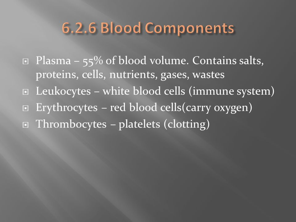 6.2.6 Blood Components Plasma – 55% of blood volume. Contains salts, proteins, cells, nutrients, gases, wastes.
