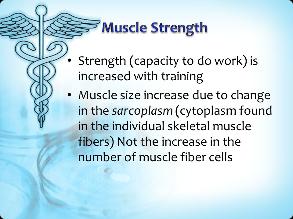 Muscle Strength Strength (capacity to do work) is increased with training.