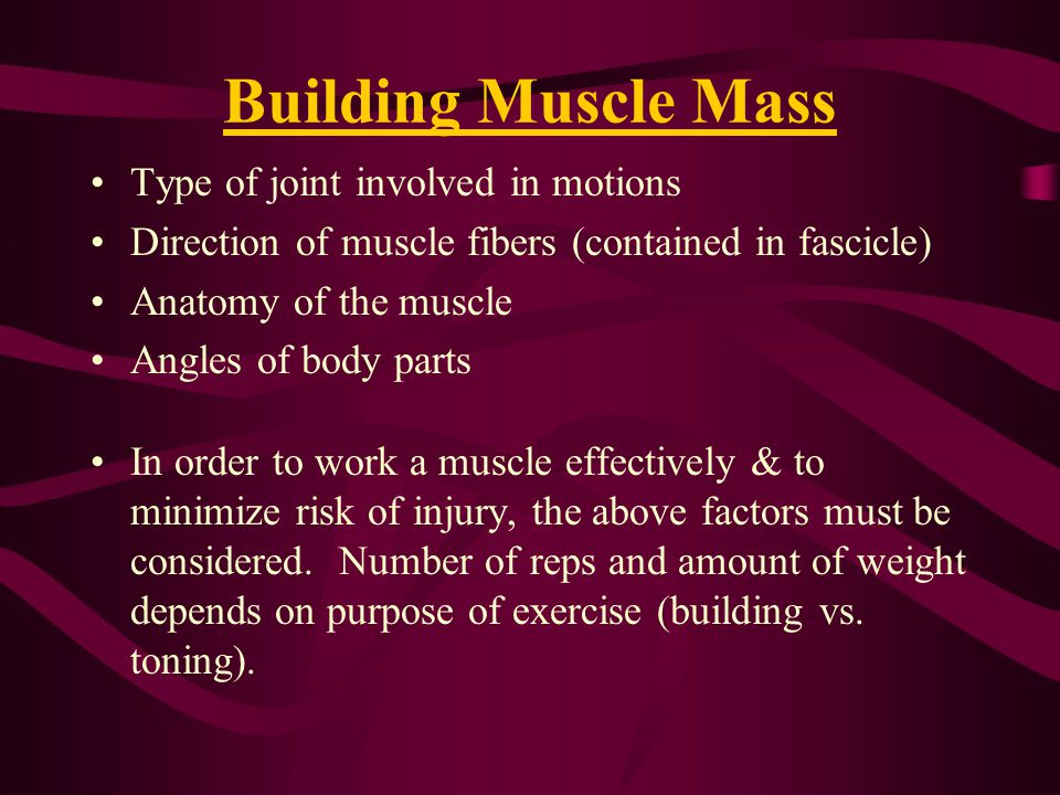 Building Muscle Mass Type of joint involved in motions
