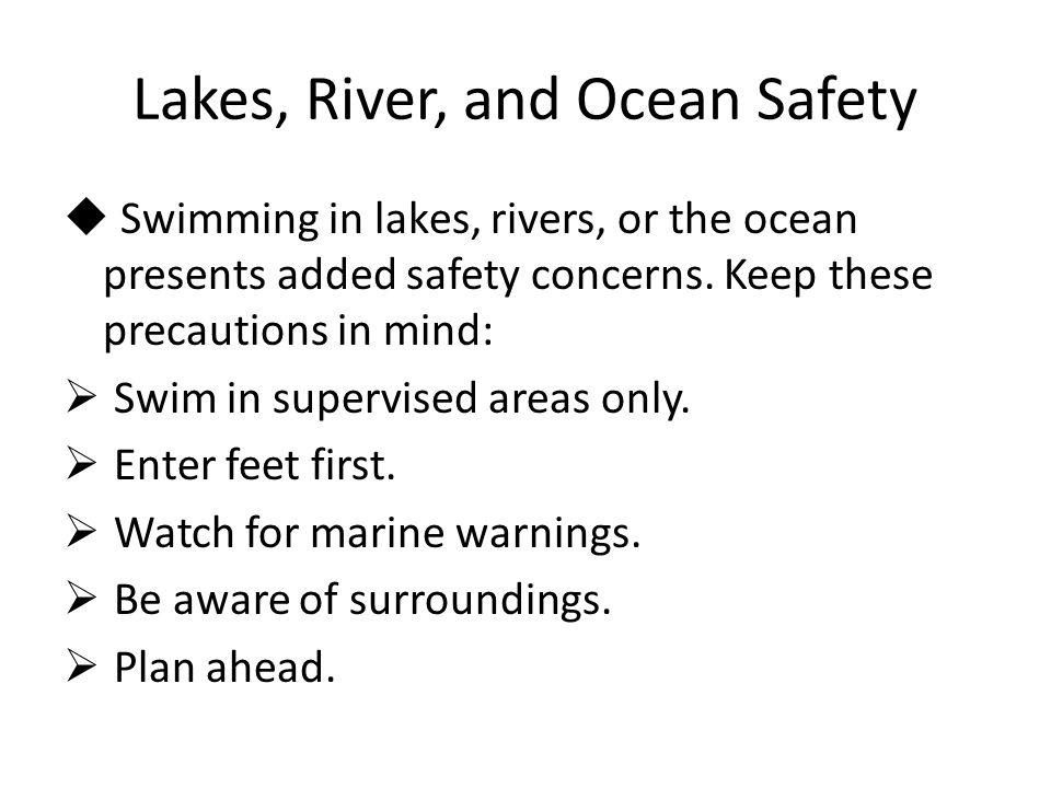 Lakes, River, and Ocean Safety