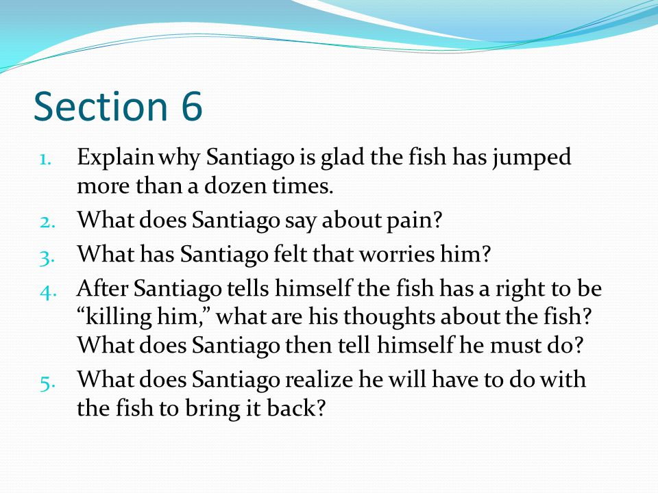 Section 6 Explain why Santiago is glad the fish has jumped more than a dozen times. What does Santiago say about pain