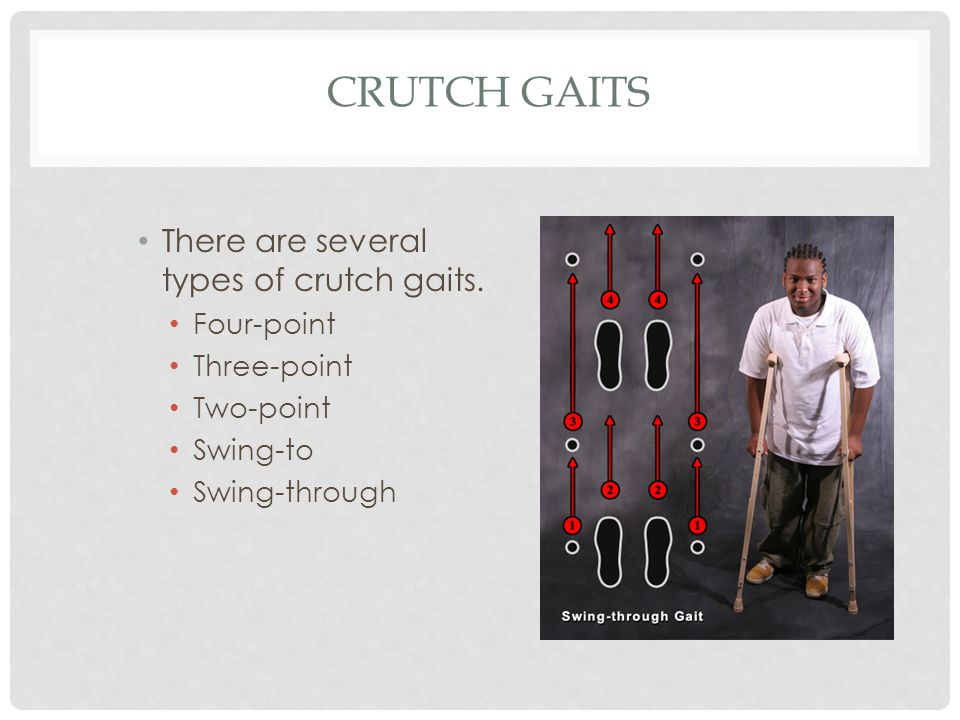 Crutch Gaits There are several types of crutch gaits. Four-point