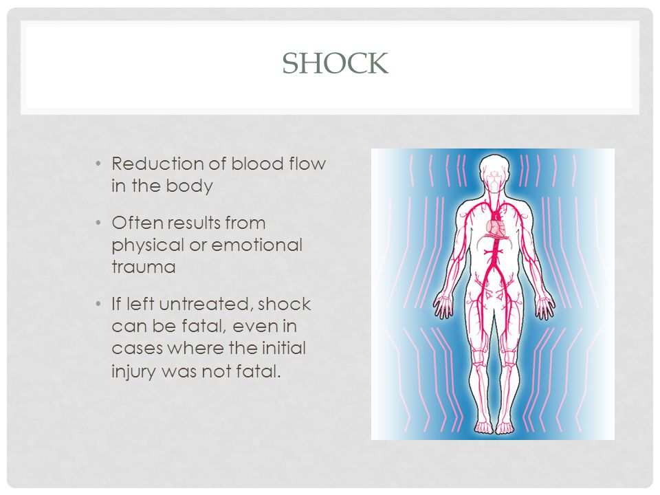Shock Reduction of blood flow in the body
