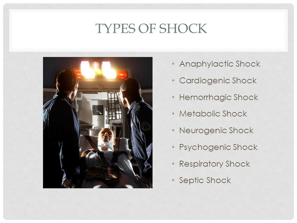 Types of Shock Anaphylactic Shock Cardiogenic Shock Hemorrhagic Shock
