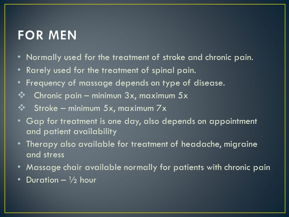 FOR MEN Normally used for the treatment of stroke and chronic pain.