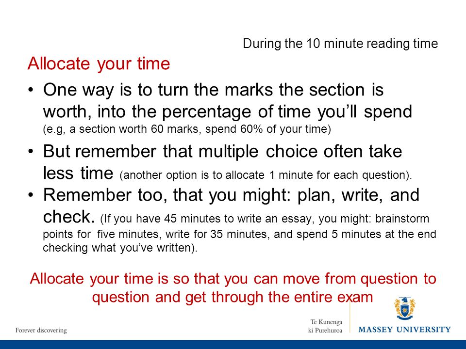 During the 10 minute reading time