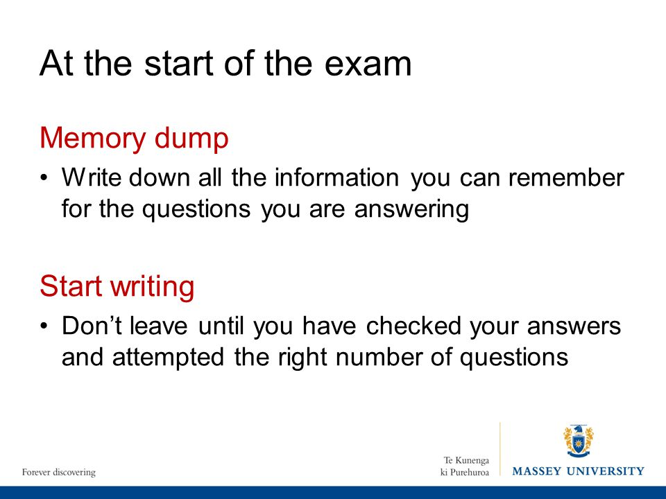 At the start of the exam Memory dump Start writing