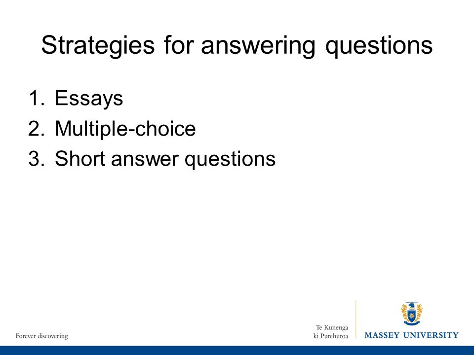 Strategies for answering questions