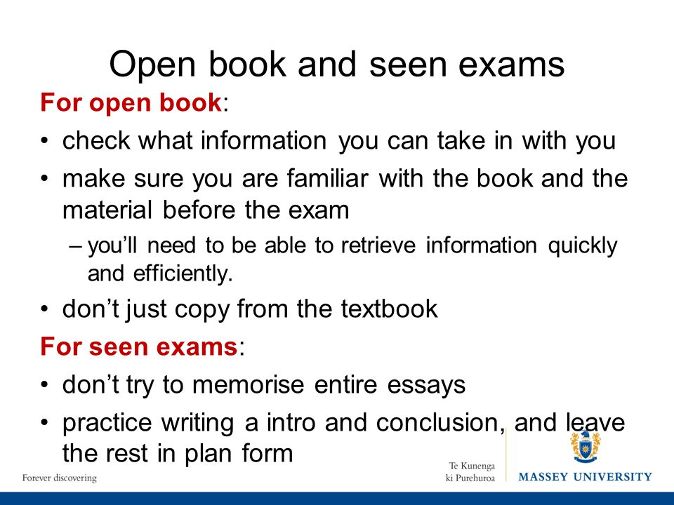 Open book and seen exams