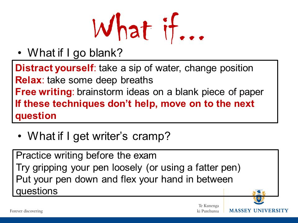 What if... What if I go blank What if I get writer's cramp