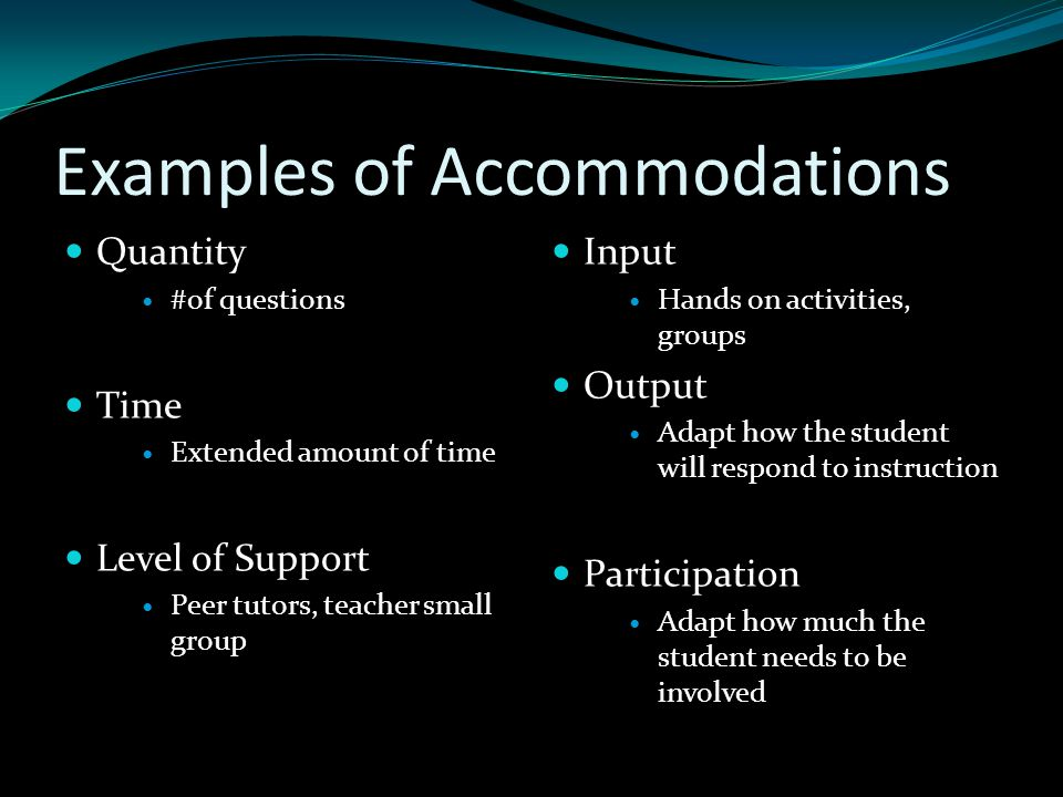Examples of Accommodations