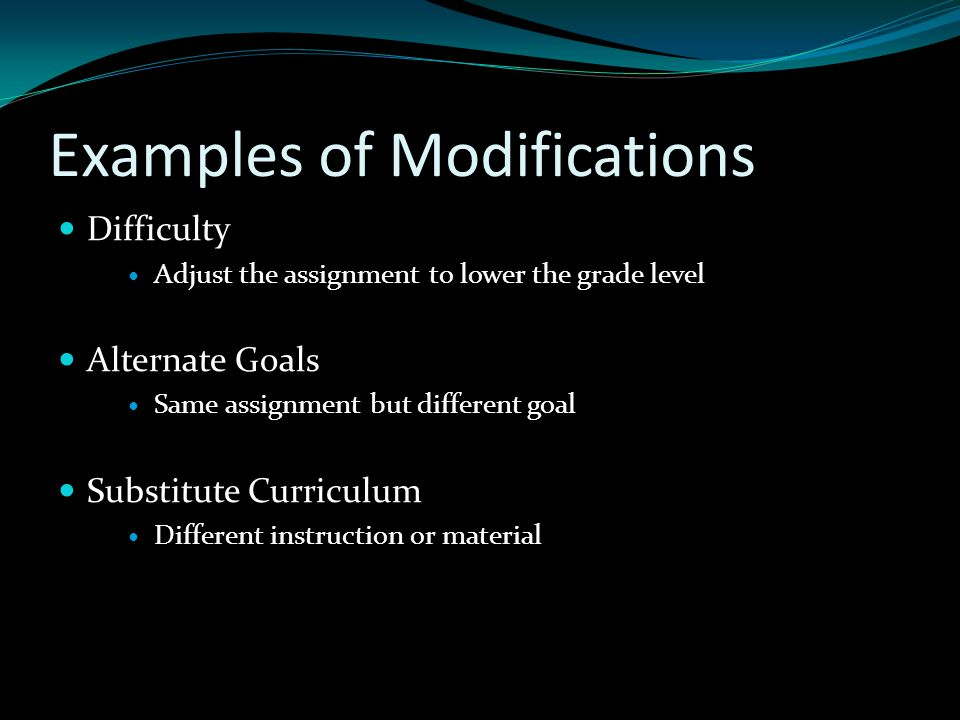 Examples of Modifications
