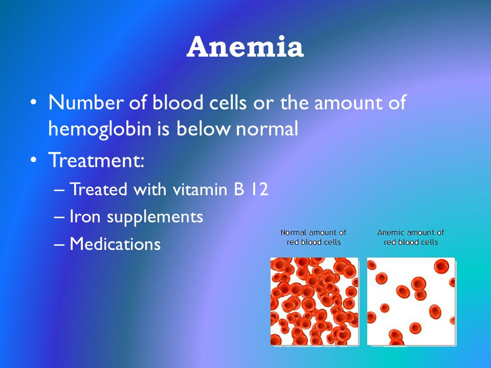 Anemia Number of blood cells or the amount of hemoglobin is below normal. Treatment: Treated with vitamin B 12.