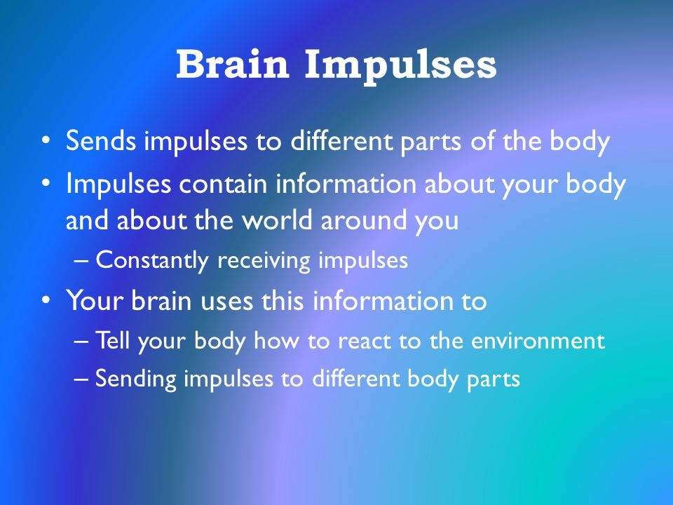 Brain Impulses Sends impulses to different parts of the body
