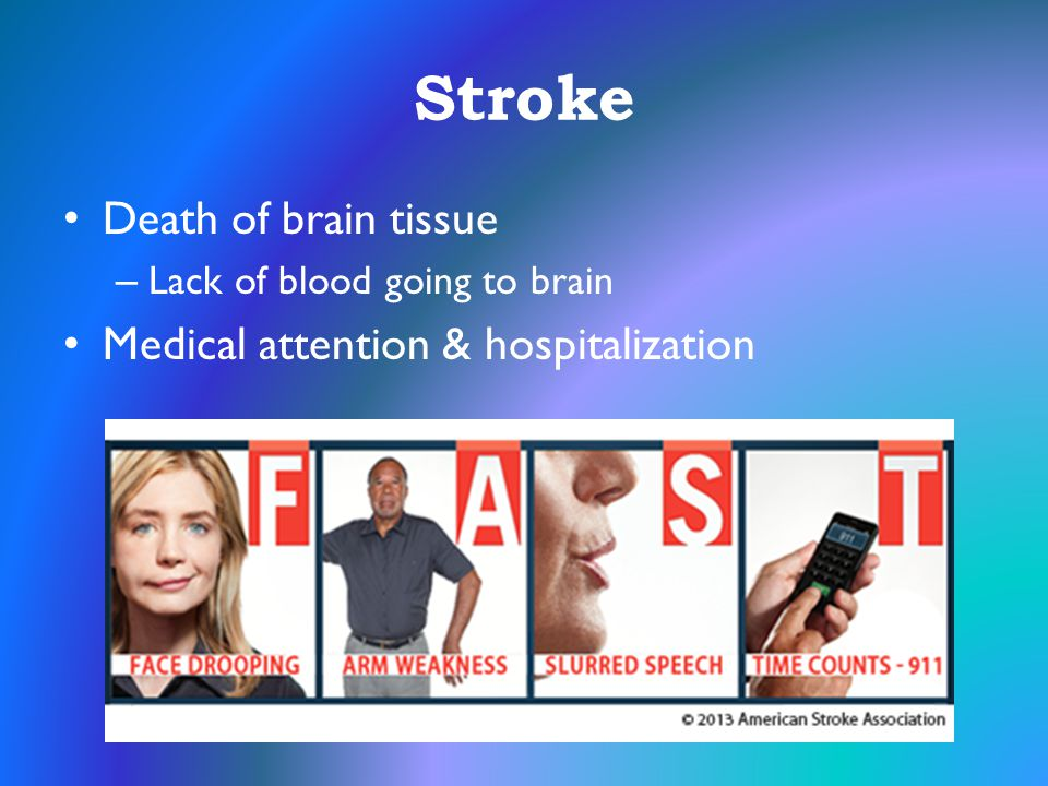 Stroke Death of brain tissue Medical attention & hospitalization