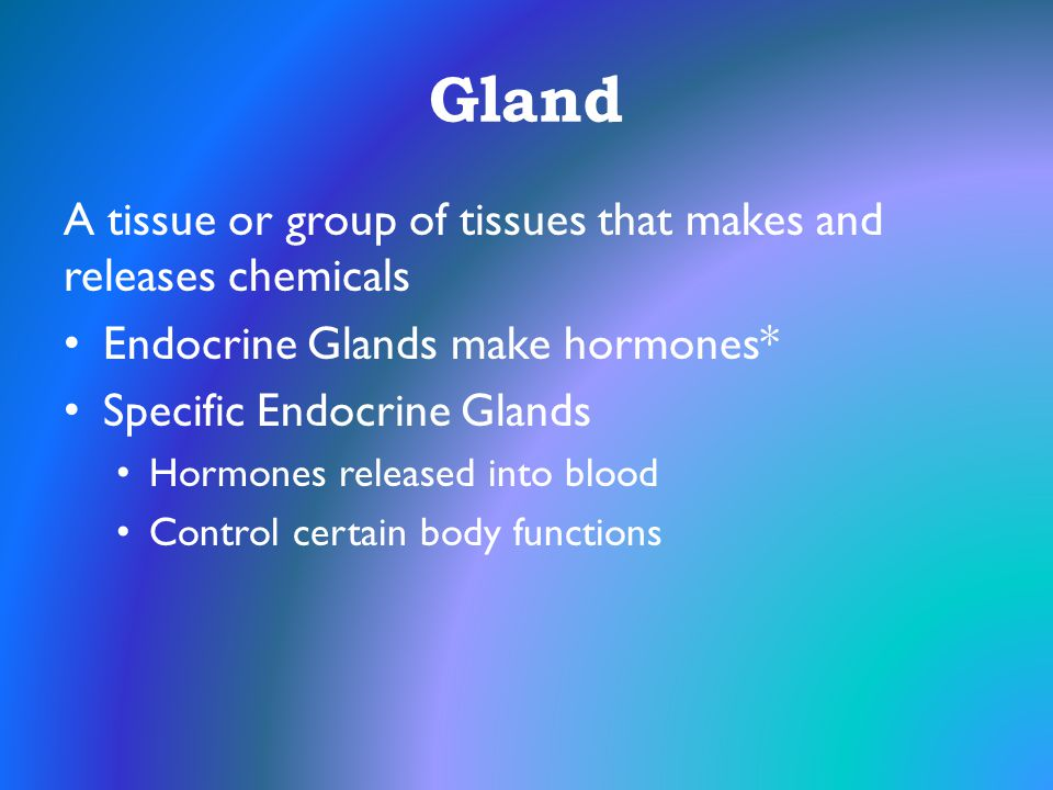 Gland A tissue or group of tissues that makes and releases chemicals