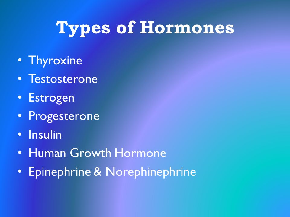 Types of Hormones Thyroxine Testosterone Estrogen Progesterone Insulin