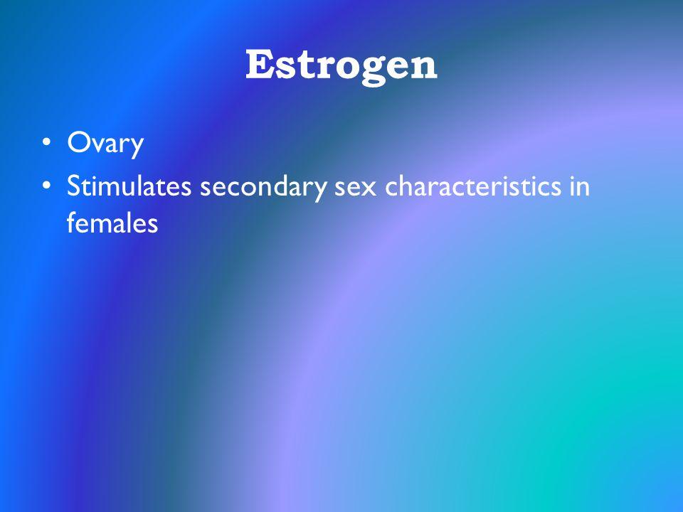 Estrogen Ovary Stimulates secondary sex characteristics in females