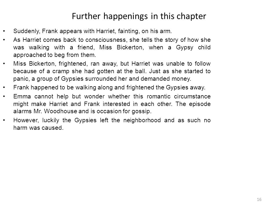Further happenings in this chapter