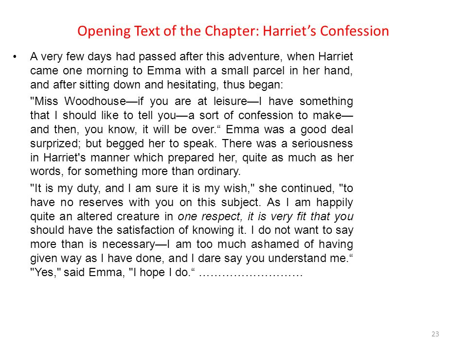 Opening Text of the Chapter: Harriet's Confession