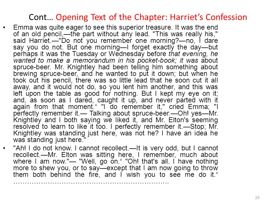Cont… Opening Text of the Chapter: Harriet's Confession