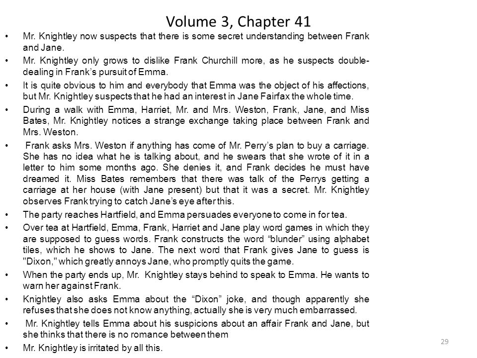 Volume 3, Chapter 41 Mr. Knightley now suspects that there is some secret understanding between Frank and Jane.