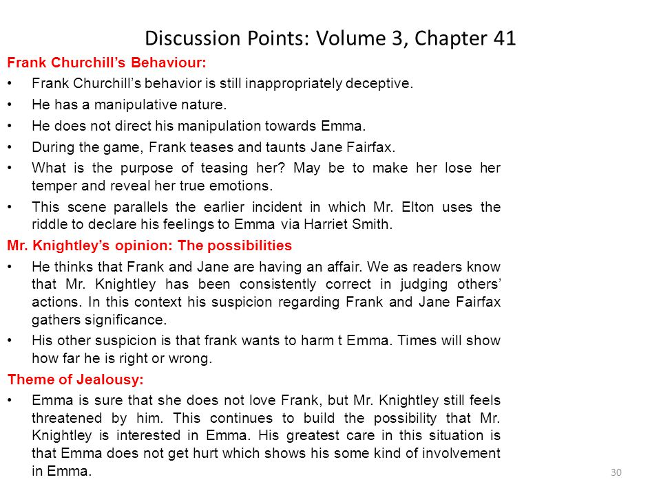 Discussion Points: Volume 3, Chapter 41