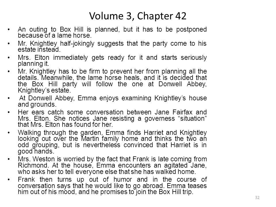 Volume 3, Chapter 42 An outing to Box Hill is planned, but it has to be postponed because of a lame horse.
