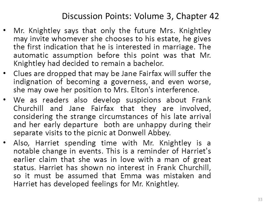 Discussion Points: Volume 3, Chapter 42