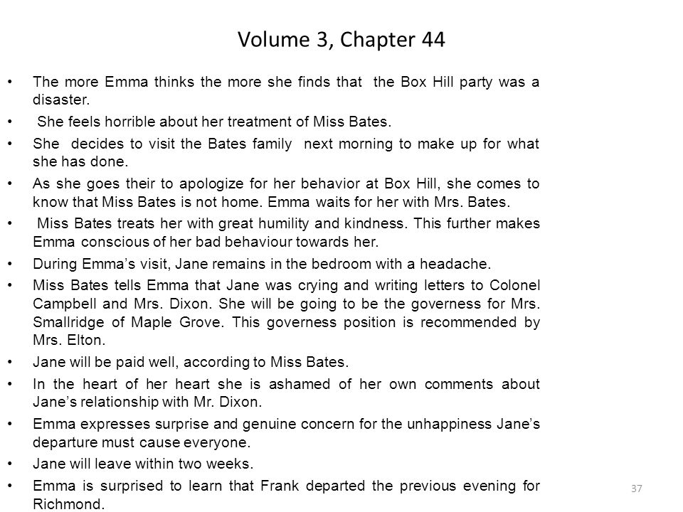 Volume 3, Chapter 44 The more Emma thinks the more she finds that the Box Hill party was a disaster.