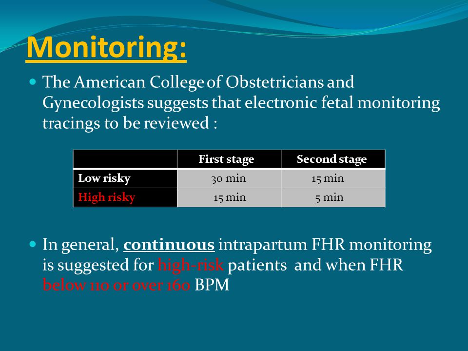 Monitoring: The American College of Obstetricians and Gynecologists suggests that electronic fetal monitoring tracings to be reviewed :