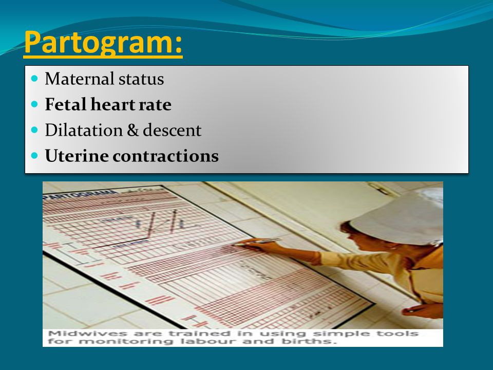 Partogram: Maternal status Fetal heart rate Dilatation & descent
