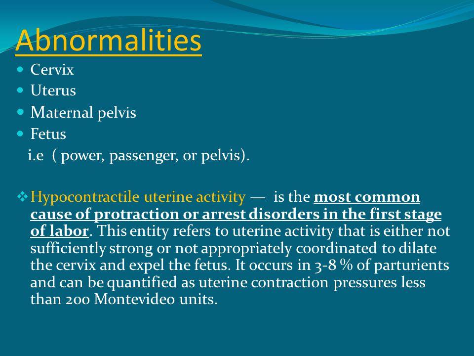 Abnormalities Maternal pelvis Cervix Uterus Fetus