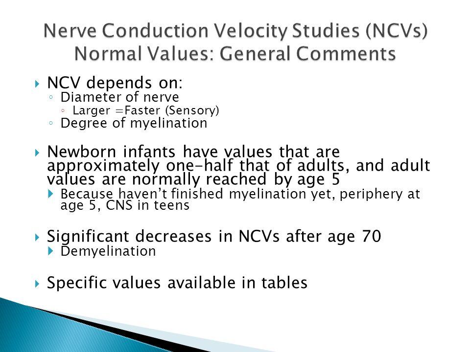 Nerve Conduction Velocity Studies (NCVs) Normal Values: General Comments