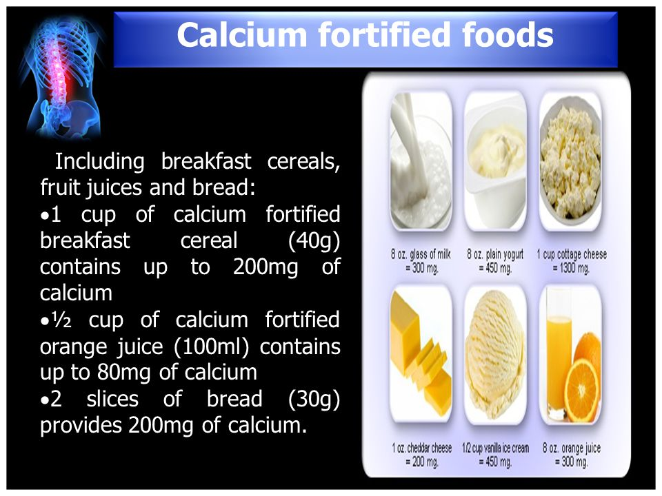 Calcium fortified foods
