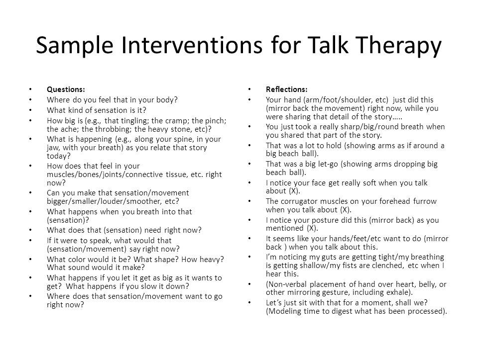 Sample Interventions for Talk Therapy