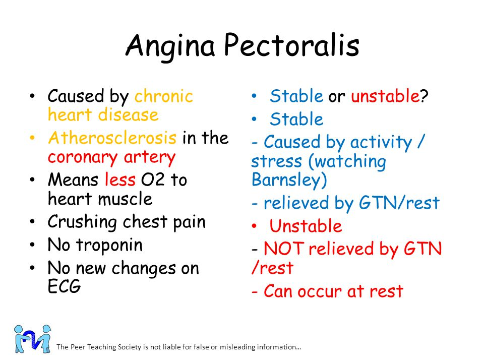 Angina Pectoralis Caused by chronic heart disease