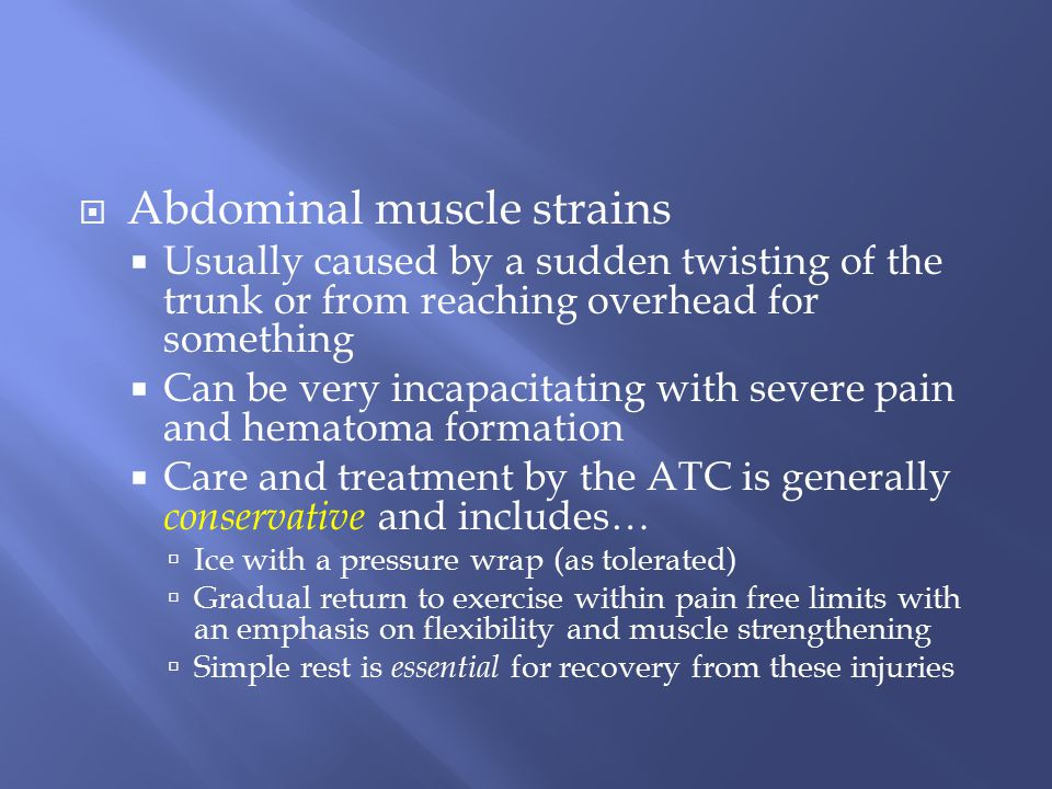 Abdominal muscle strains