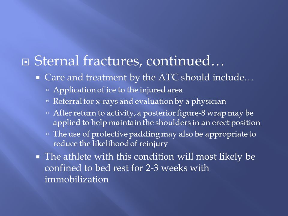 Sternal fractures, continued…