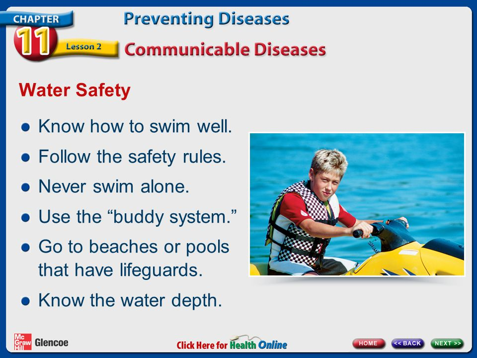 Follow the safety rules. Never swim alone. Use the buddy system.