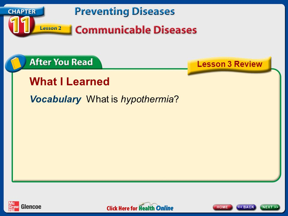 What I Learned Vocabulary What is hypothermia Lesson 3 Review