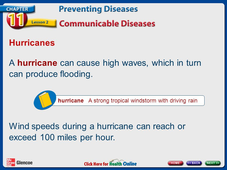 A hurricane can cause high waves, which in turn can produce flooding.