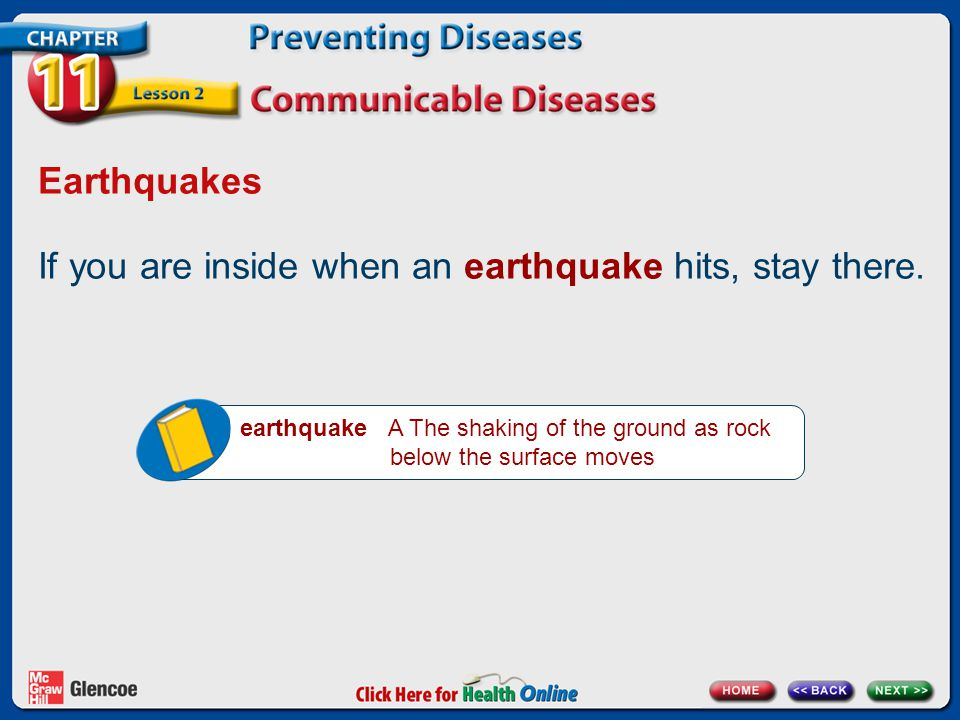 If you are inside when an earthquake hits, stay there.