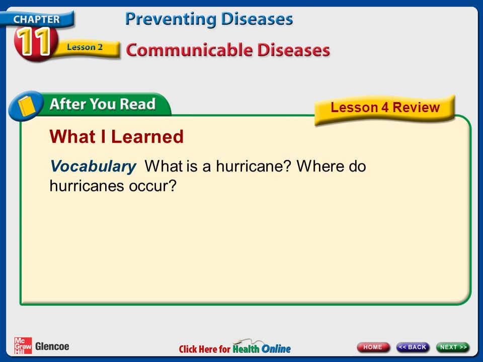 Lesson 4 Review What I Learned. Vocabulary What is a hurricane Where do hurricanes occur